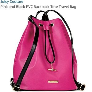 Juicy Couture NWT Pink/Black Backpack Purse 15X14